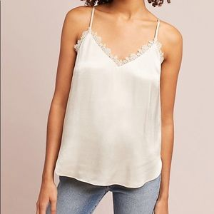 Floreat cream silky lace camisole tank top